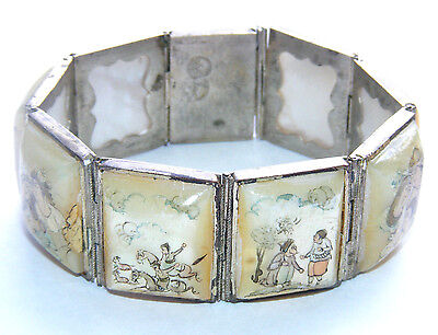 """Antique Art Deco Silver 7.5"""" Bracelet Painted Mother of Pearl Panels Chinese W1"""