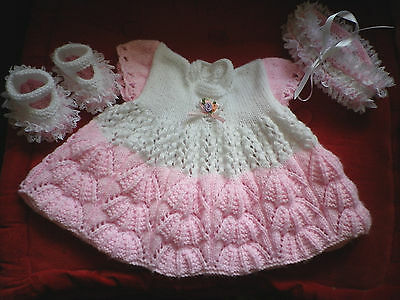 """Gorgeous hand knitted dress set to fit 19-20"""" reborn baby doll or small baby"""