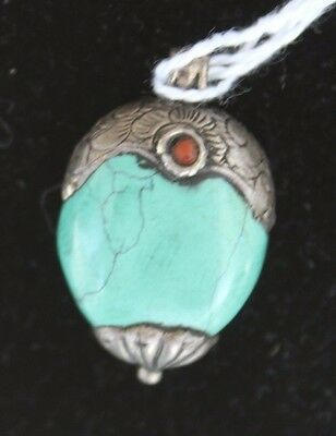 Nepal Turquoise & Silver Pendant