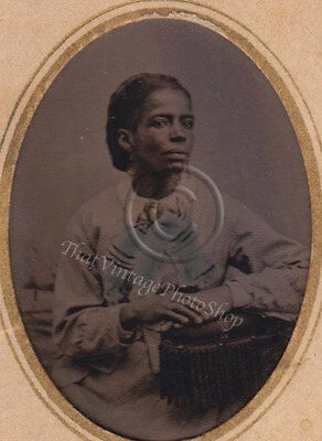 Antique Tintype Photograph African American Woman Hand Tinted