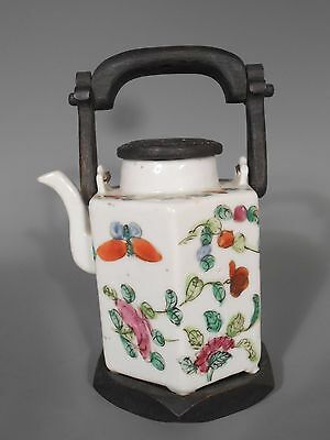 Japan Japanese Porcelain Teapot Floral Decoration w/ Wood Hardware ca 19-20th c.