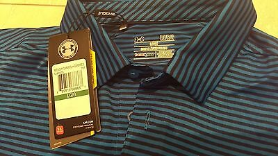 BNWT Under Armour coldblack golf polo large blue and black stripe