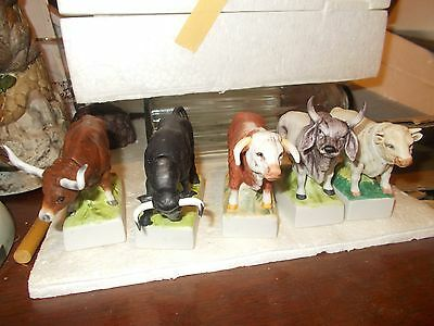 5 Miniature Bulls & Cattle Bottle's - Collector Art - 0Nly 1200 Made - Empty