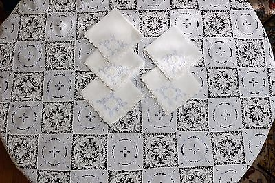 Point de Venise Needle Lace & White Linen Tablecloth & Napkins, Blue Embroidery