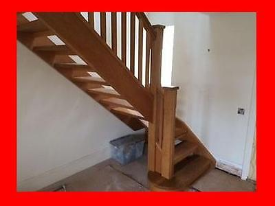 Beautiful Neville Johnson solid oak staircase left winder complete