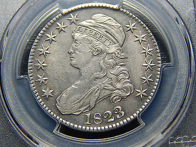 1823 50C Capped Bust Half Dollar O-111 Triple Profile AU-50 PCGS, Rare in AU!!