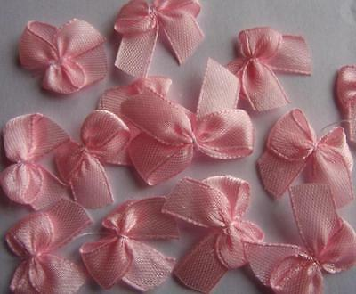 25 x PINK SATIN BOWS ~ 10mm Ribbon. Ideal for Card-making/ Craft projects