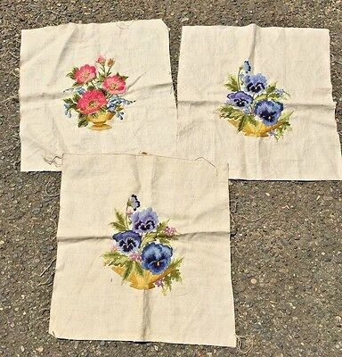 3 VINTAGE HAND EMBROIDERY PINK ROSES and Purple Pansies Embroidery Panels Pillow