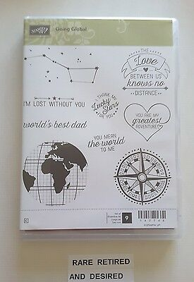 *GOING GLOBAL* Stampin' Up  9 pc Clear Mount Rubber Stamp Set.