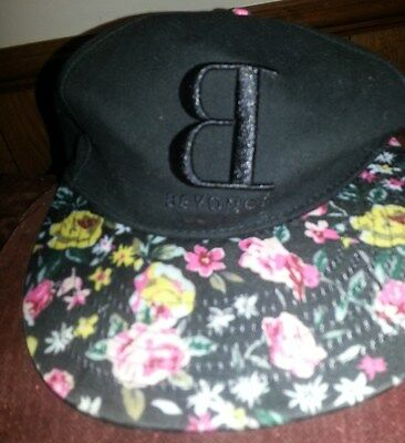 Beyonce Hat Black with Flower design on bill of cap and B on front