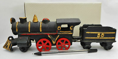 Cast Iron Model Steam Engine Locomotive and Tender  27cm Long (1468)