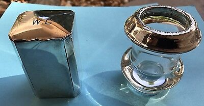 Vintage Match Holder And Snuff Box Made Of Silver And Glass