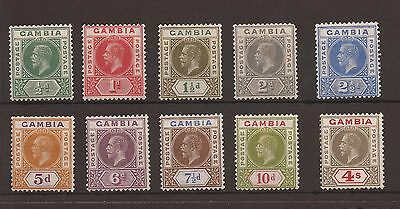 Gambia 1921-22 - sg 108-117 fine MM set of 10 Cat £110