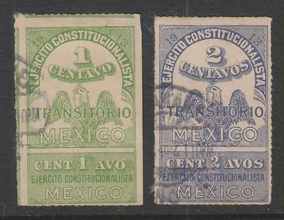 Mexico - Revolution, 1913 Transitorio Revenue Stamps Used for Postage (2 scans)