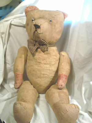 "Antique  Large Straw Jointed  Teddy Bear 28"" Inches In Height"