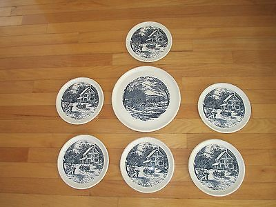7pc Currier & Ives Hostess Cake Plate & Dessert Dish Set     EXCELLENT       USA