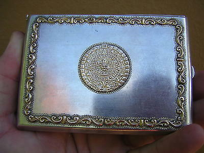 Scarce Very Ornate Vintage Mexican Sterling Silver And Gold Cigarette Case