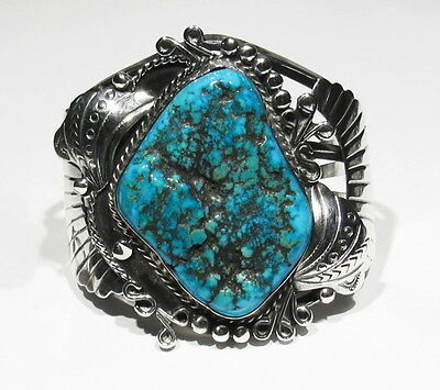 HUGE Signed Navajo Lone Mountain Turquoise Bracelet 125g 925 Silver Turquoise