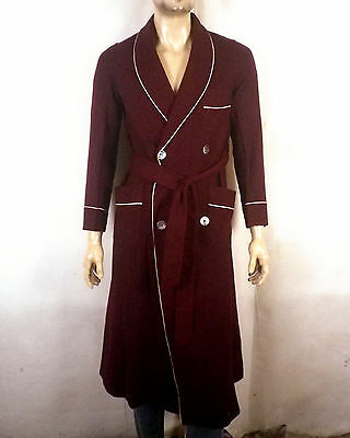 vtg 30s 40s MINTY!!! burgandy Men's Wool Double Breasted Smoking Jacket Robe S/M