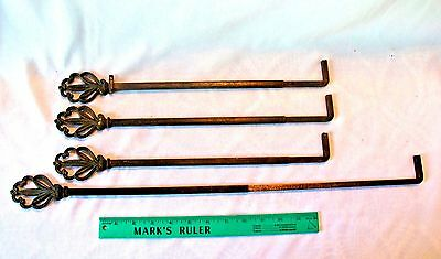 ANTIQUE Swing Arm CURTAIN RODS or PLANT HANGER HOOK Brass VICTORIAN