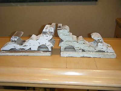 Pair of Antique 1890's Corbels Weathered Chippy Crackled Paint