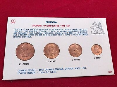 Modern Uncirculated Type Set 1944 Ethiopia 1 , 5, 10 And 25 Cents-