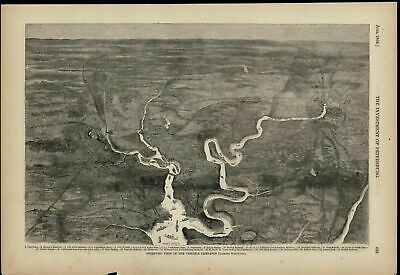 Isometric birds-eye view Virginia Campaign Civil War 1868 old print for display