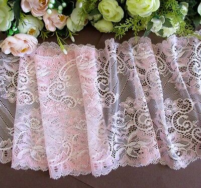 20 cm width Beautiful Light Pink Stretch Lace Trim