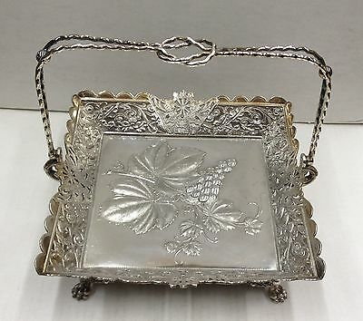 Antique Silverplate Footed Fruit Basket with Embossed Handle Wilcox