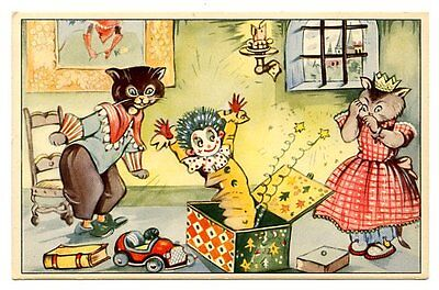 vintage cat postcard dressed cats surprised by Jack-in-a-box toy clown