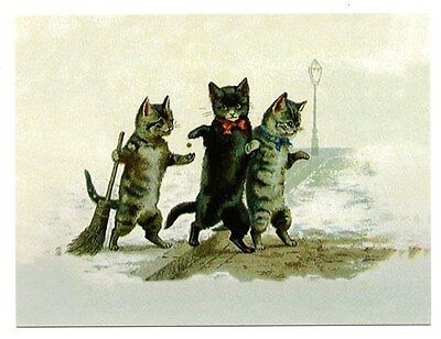 modern cat postcard Maguire cats couple pay tabby cat w broom for sweeping snow