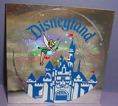 Vintage Disneyland Castle with Tinkerbell Mirrored Sticker or Decal