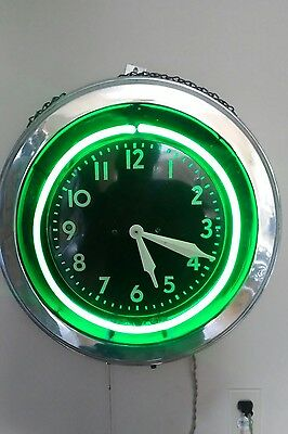 Vintage Modern Advertising Clock Neon Huge