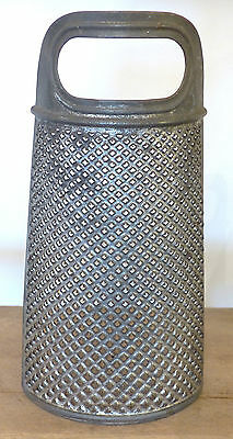 ANTIQUE Primitive Half Round Hanging PUNCHED TIN CHEESE Spice GRATER PEG RACK #1