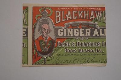 Miss Cut Blackhawk Ginger Ale  Label 1930s ?  Rock Island ILL. Indian Chief