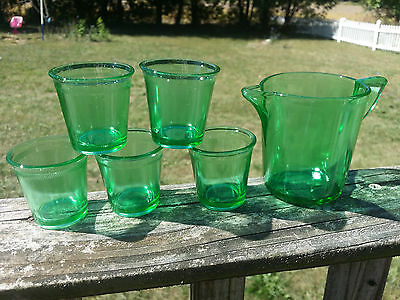 Antique Akro Agate Green Depression Stippled Band Childs Water Pitcher Tumblers!