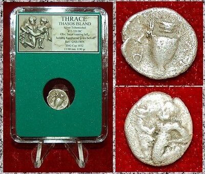 Ancient Greek Coin Thrace Thasos Island Satyr Holding Kantharos Amphora Silver