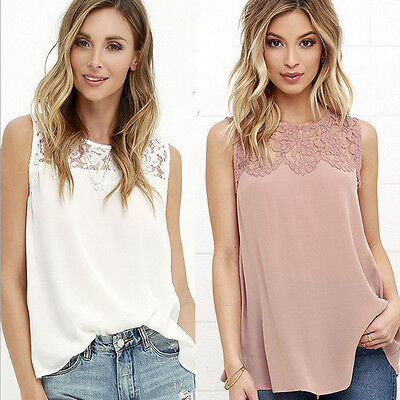 New Lady Women Summer Lace Vest Top Sleeveless Blouse Casual Tank Tops T-Shirt