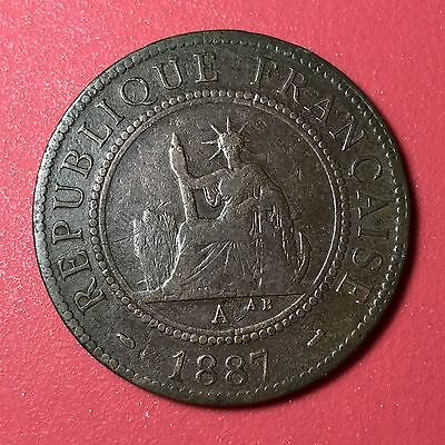 1887A French Indo China 1 Cent world foreign coin Great condition