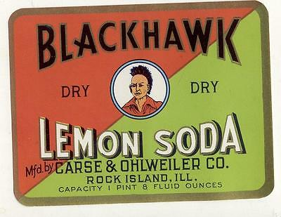 Blackhawk Lemon Soda by Chase &Ohlweiler co. Rock island ILL Indian Chief Label