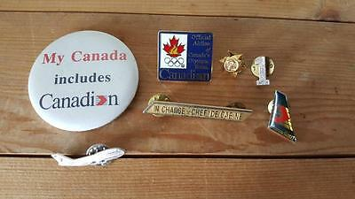 Vtg Canadian Airlines Pins - Flight Attendant 'In Charge', Olympics, Plane Pin