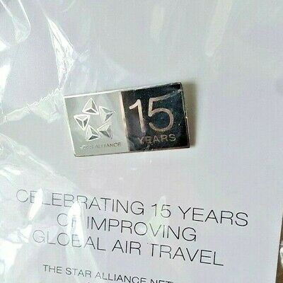 Star Alliance Lapel Pin - 15th Anniversary United Airlines, BA, Air Canada, etc