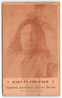 Postcard Sioux Indian Chief Rain In The Face Custer Little Big Horn Linen C4