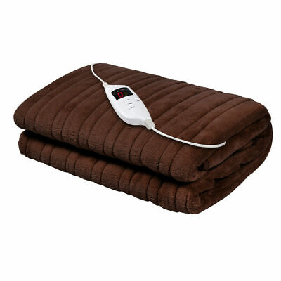 Giselle Bedding Washable Heated Electric Throw Rug Snuggle Blanket Fleece Brown