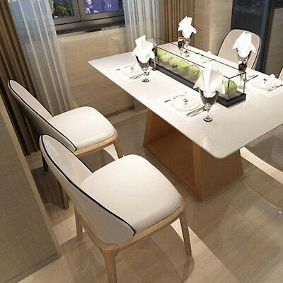 New Contemporary Design PU Leather White Wooden Leg Dining Table Chair