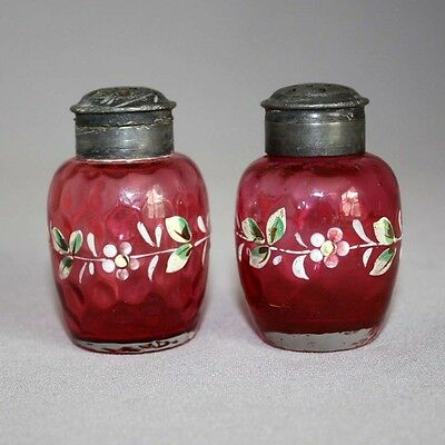 Antique Vtg PAIR ENAMELED CRANBERRY Rubina GLASS SALT & PEPPER SHAKERS Honeycomb