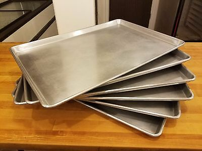 "Lot of 6 Full Size Aluminum 18""x26"" Bakery Sheet Pan Tray Commercial Made in USA"