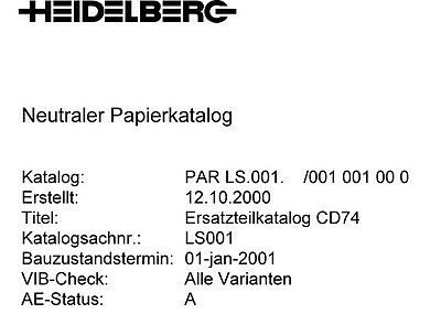 Heidelberg CD 74 - PARTS MANUAL (082)