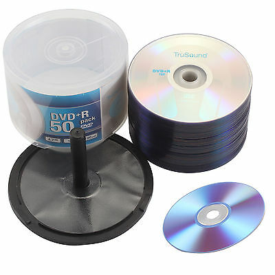 4.7GB Pack 50 DVD+R 120 Mins 16x Speed Full Face Recordable Blank CD DVDS Discs