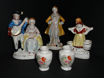 Porcelain made in Occupied Japan Three 'Dutch' Figurines Two Urns *VGUC